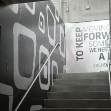 Black white vinyl staircase